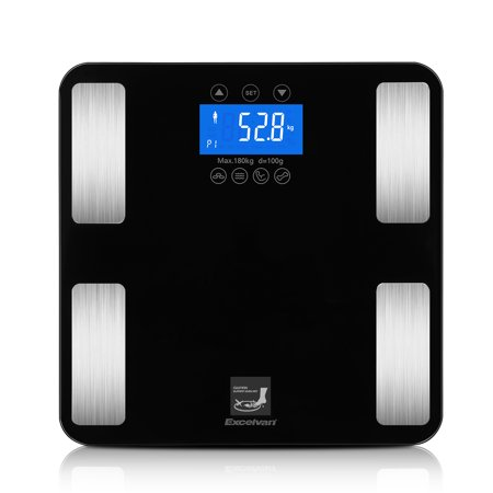 Excelvan Body Scale, Touchable 10 User Recognition 400lb Smart Step-on Tempered Glass Digital Body Fat Scale Body Weight, BMI, Fat, Water, Calories, Muscle Measuring ()