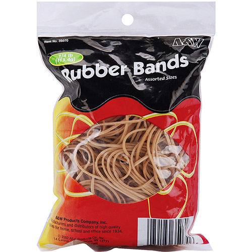 A & W Office Supplies Rubber Bands .25 Pound, Assorted Sizes, Tan