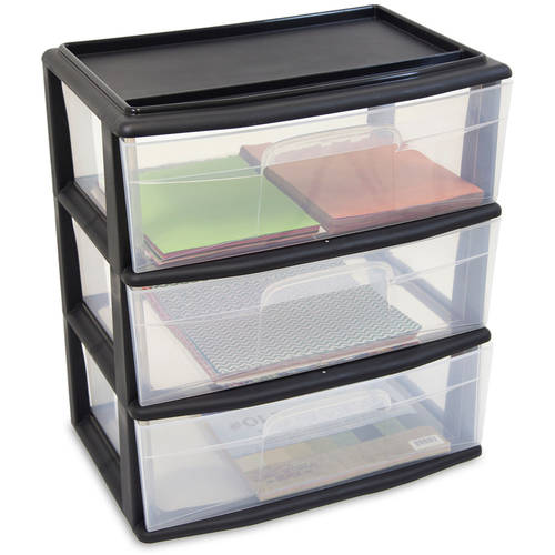 Homz Large 3 Drawer Wide Cart, Black