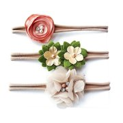Zuiguangbao Baby Girls Flower Headband 3PCS Set Infant Bowknot Lovely Headwear Gift Children Kids Princess Band Hair Accessory haarband baby