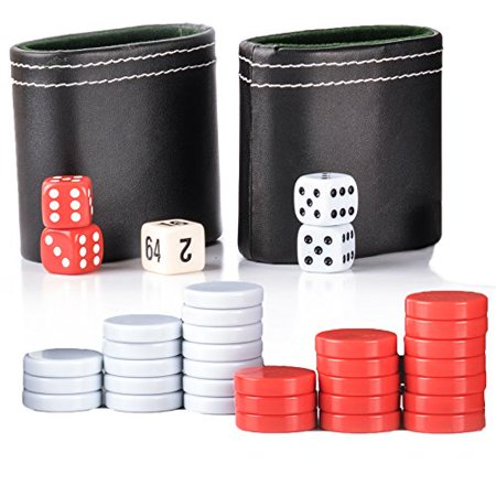 GrowUpSmart Backgammon Game Pieces Set - Replacement Red/White Checkers, Two PU Leather Dice Cups, Four Dice and One Doubling Cube - image 1 of 1