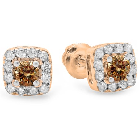 Gold Champagne Diamond Earrings - 0.50 Carat (ctw) 10K Rose Gold Round Cut Champagne & White Diamond Ladies Square Frame Halo Stud Earrings 1/2 CT