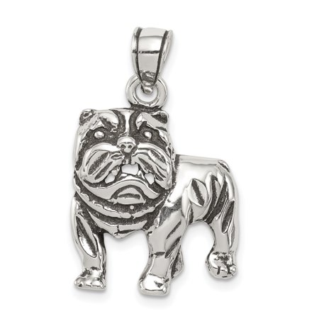 925 Sterling Silver Bulldog Pendant Charm Necklace Animal Dog Man Gift For Dad Mens For - Bulldog Head Pendant