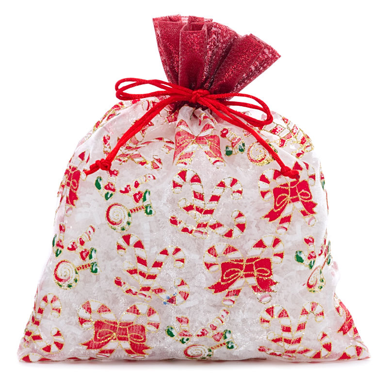12ea - 8 X 10 White/Red Candy Canes Christmas Bags by Paper Mart