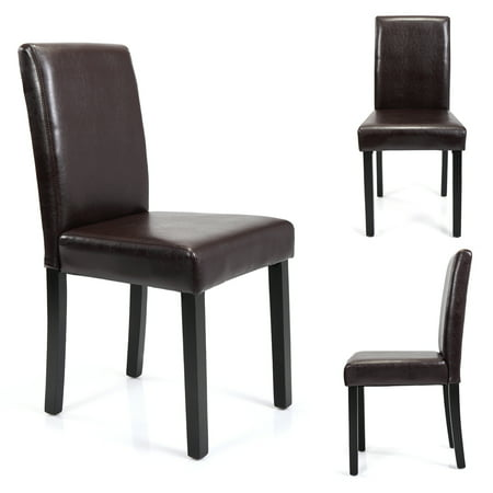 Set of 4 Brown Kitchen Dining Chairs Ubran Style PU Leather Side Chairs w/ Medium Back 4 Brown Leather Chairs