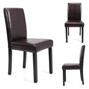 Set of 4 Brown Kitchen Dining Chairs Ubran Style PU Leather Side Chairs w/ Medium Back