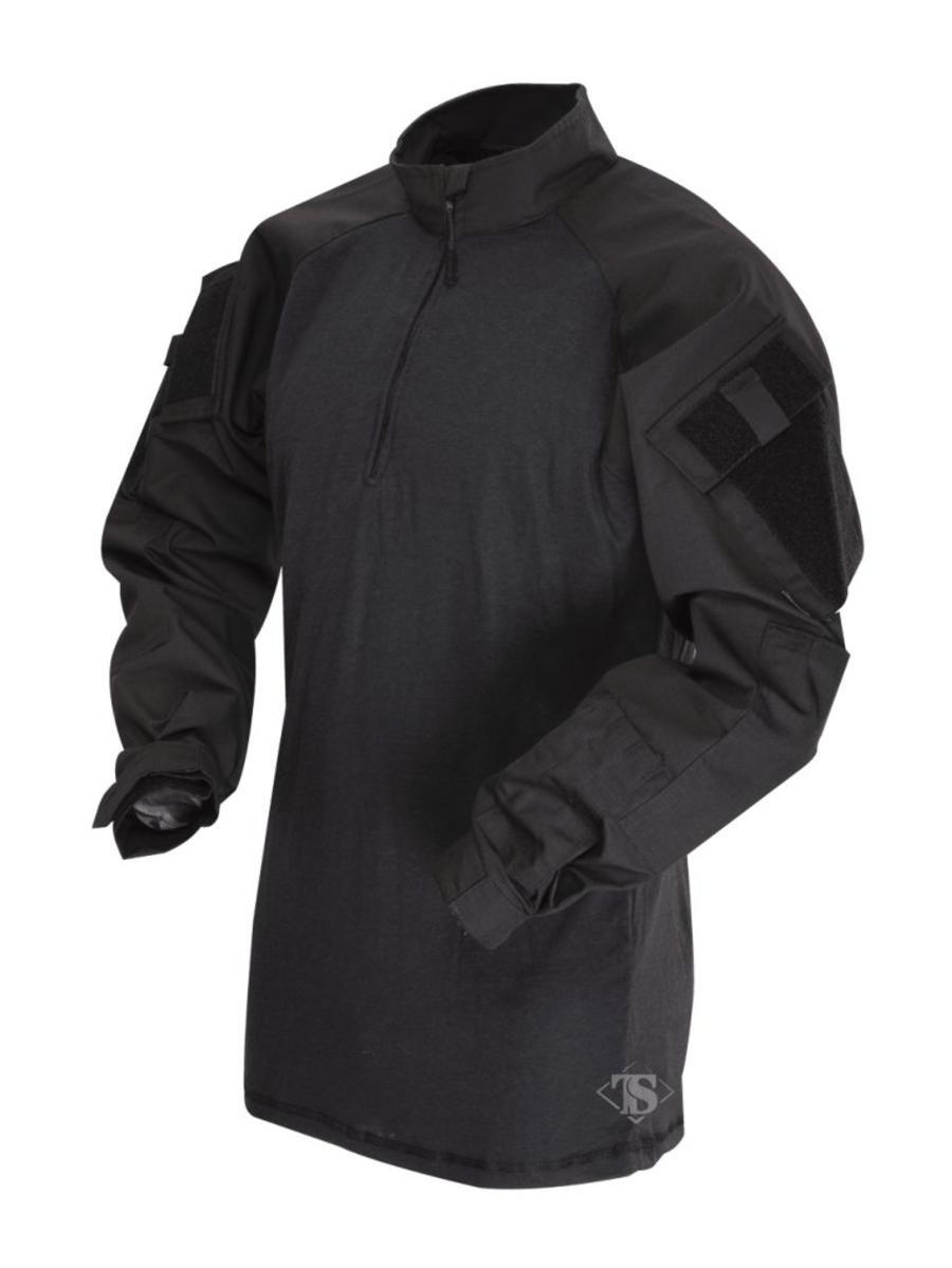 Tru-Spec 2566 1/4 Zip Tactical Response Uniform (TRU) Combat Shirt, Black