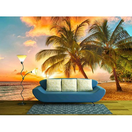 wall26 - Beautiful Sunset over the Sea with a View at Palms on the White Beach on a Caribbean Island of Barbados - Removable Wall Mural | Self-adhesive Large Wallpaper (Caribbean Wall Mural)