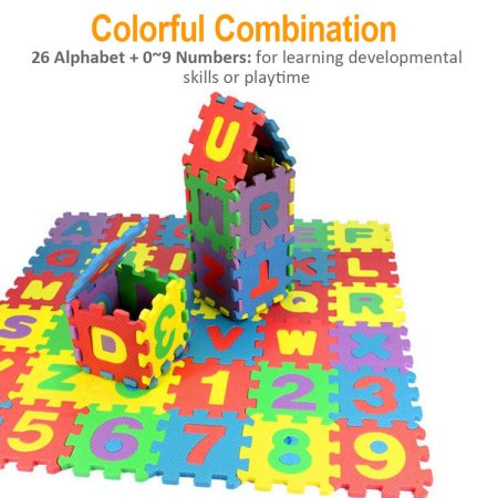 36-Pieces Multicolored Alphabet Numbers Interlocking Puzzle Foam Play Mat for Kids Baby by konxa
