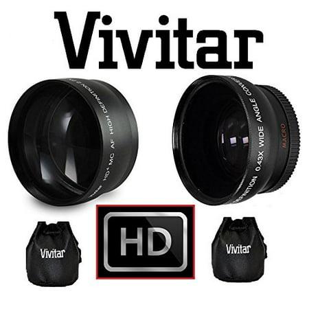 2-PC LENS KIT HI DEF TELEPHOTO & WIDE ANGLE LENS FOR CANON VIXIA HF G20 (G20 Lens)
