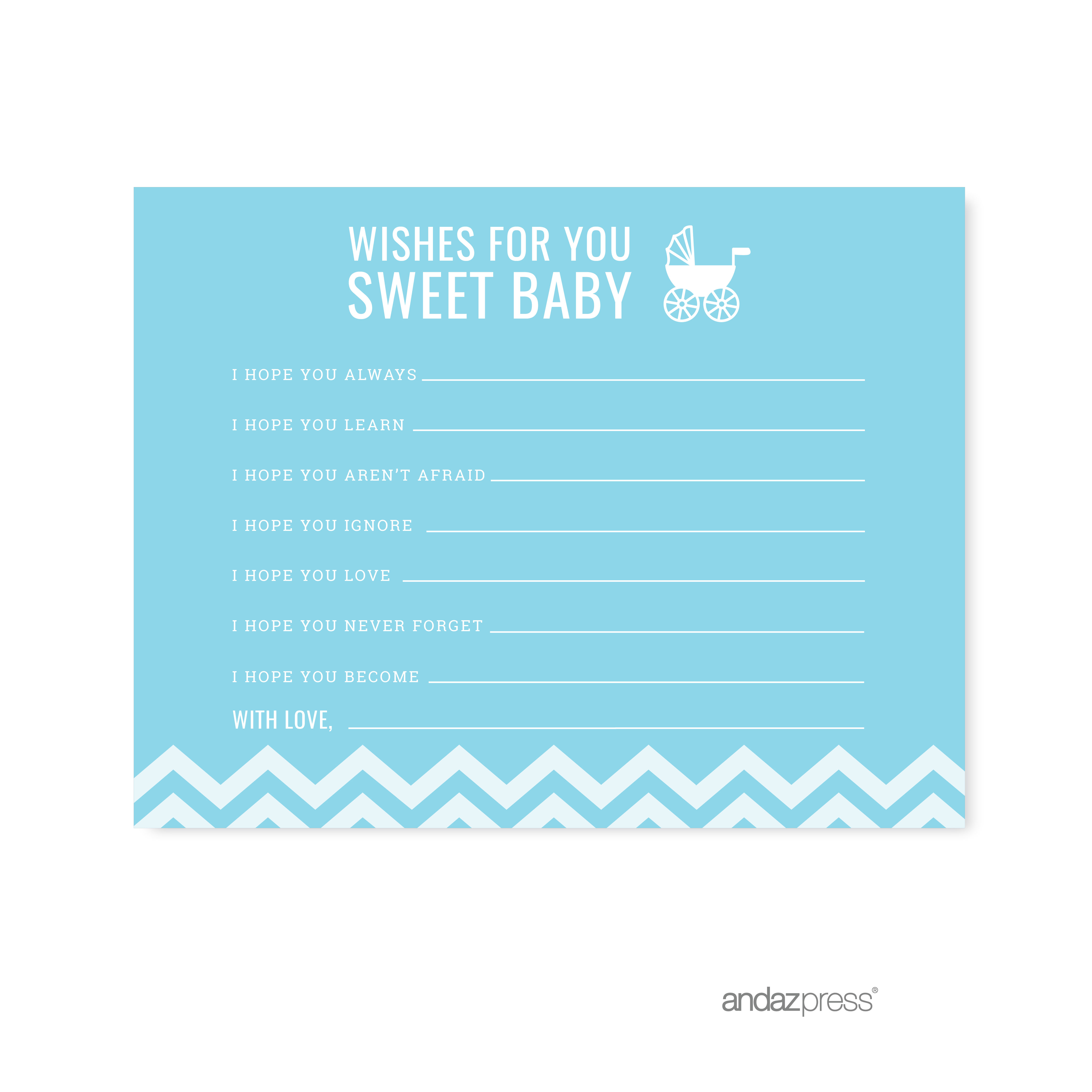 Wishes For Baby Baby Blue Chevron Baby Shower Games, 20-Pack