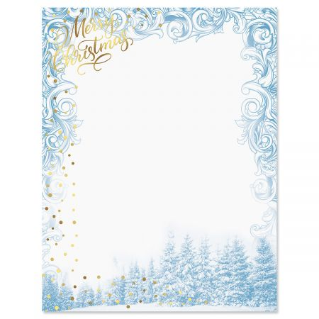 "Deluxe Winter Sparkle Christmas Letter Papers - Set of 25 Christmas stationery papers are 8 1/2"" x 11"", compatible computer paper"