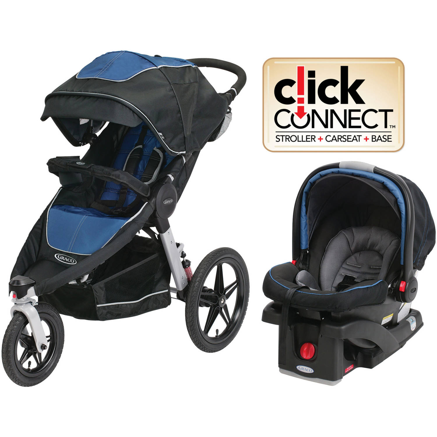 Graco Relay Click Connect Travel System, Car Seat Stroller Combo, Jaguar