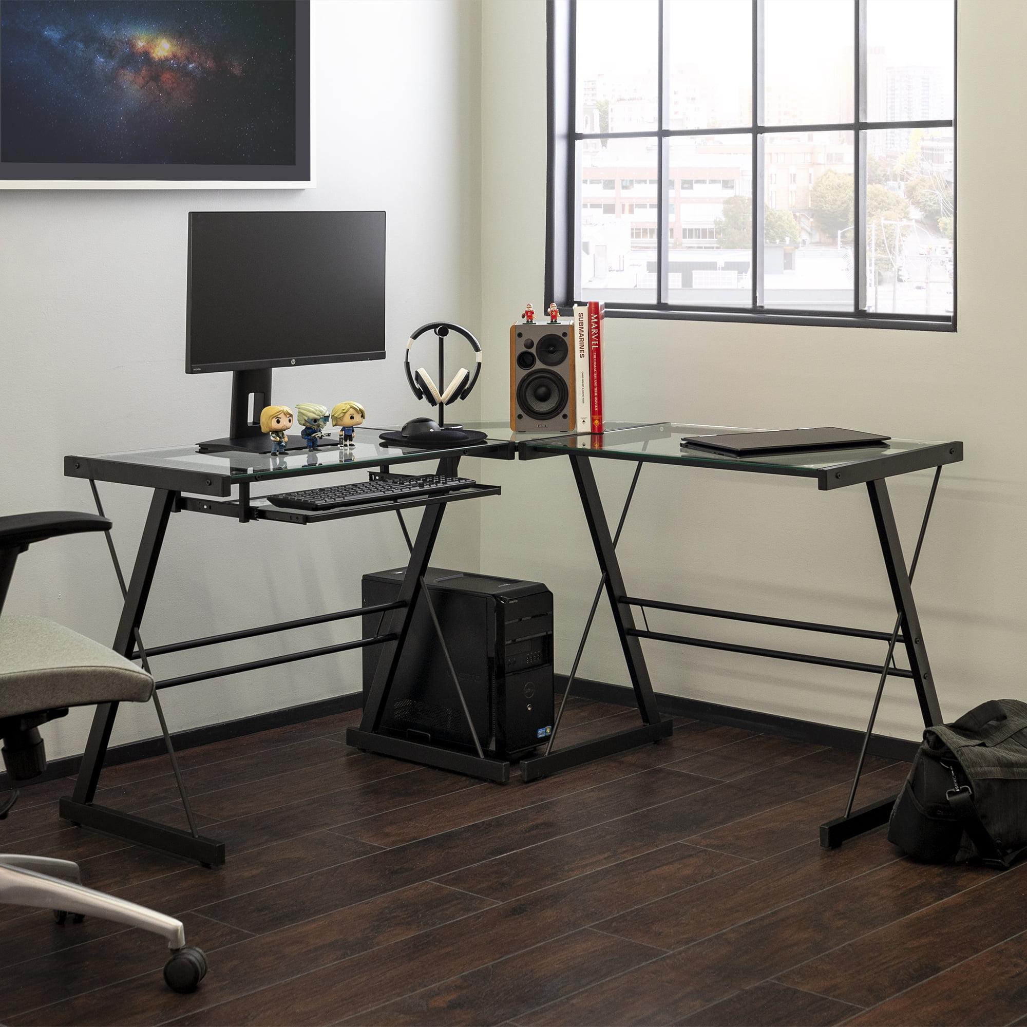 Walker Edison Glass And Metal L Shaped Computer Desk Black Clear Glass Walmart Com Walmart Com