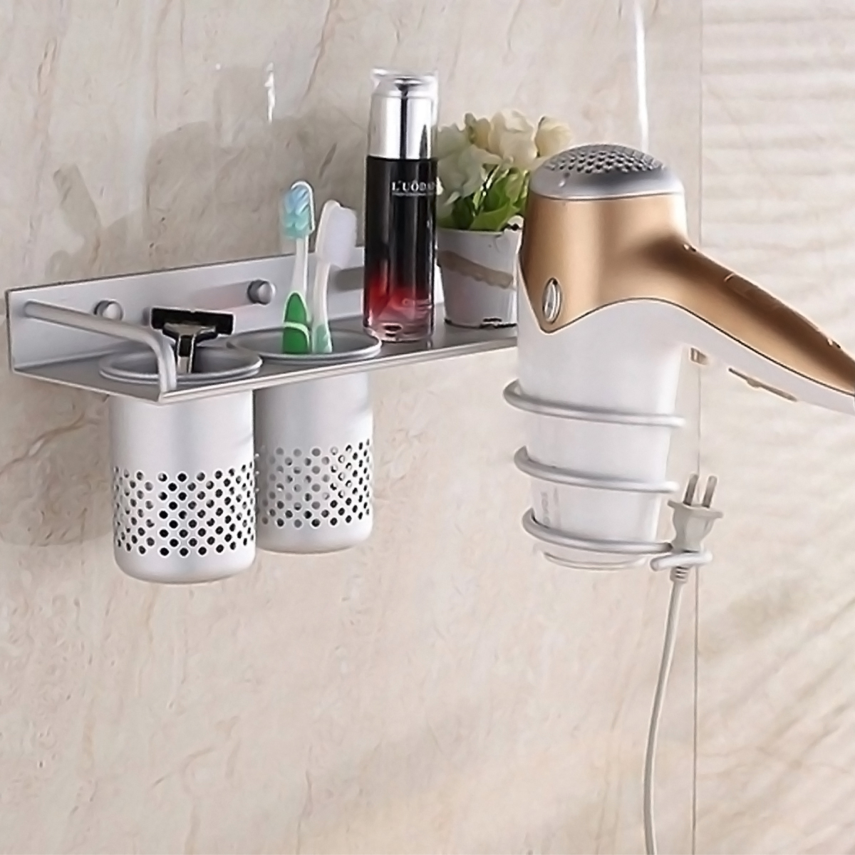 Multifunction Hair Dryer Stands Wall Mounted Aluminum Bathroom Organizer shelf with 2 cups by