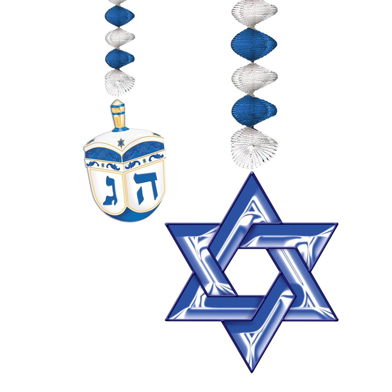 Club Pack of 12 Dreidel and Star of David Hanukkah Dangler Hanging Decorations 2.5'