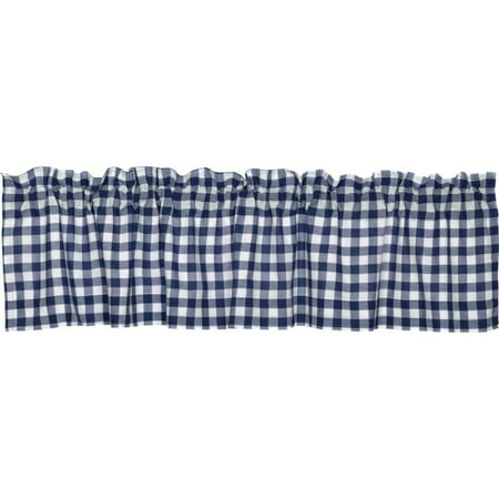 """Cotton Rich Small Kitchen Window Valance: Gingham Check Design, Rod Pocket, One Valance 56"""" Wide x 15"""" Long (Navy and White)"""