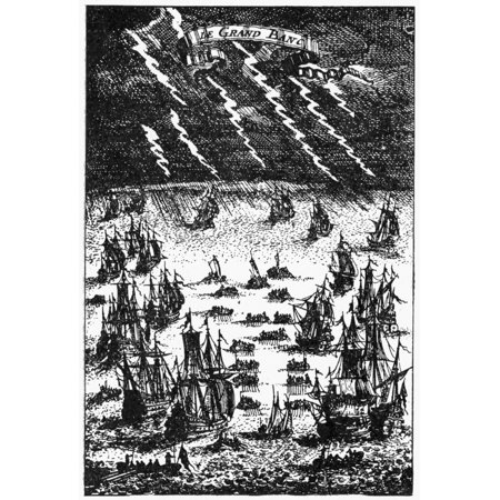Fishing Fleet 1683 Nlate 17Th Century Fishing Fleet On The Grand Banks Off The Coast Of Newfoundland Canada Copper Engraving French 1683 Rolled Canvas Art     18 X 24