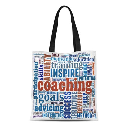 - ASHLEIGH Canvas Tote Bag Training Coaching in Word Collage Instruction Cloud Motivation Education Reusable Shoulder Grocery Shopping Bags Handbag