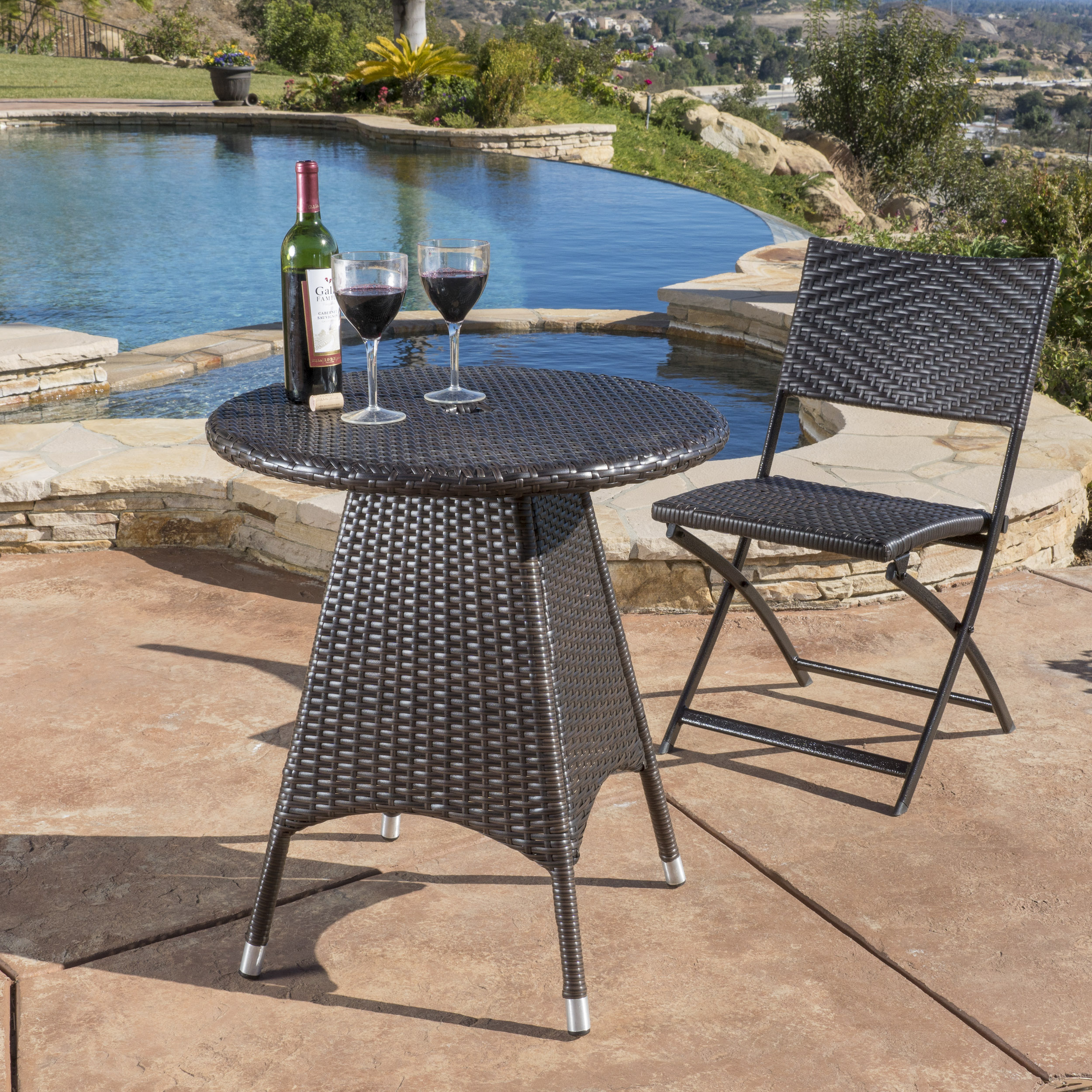 Rene Outdoor Multi-brown Circular Wicker Bistro Table