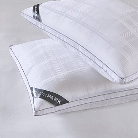 Madison Park 525 Thread Count Cotton Rich Down Alternative Bed Pillows (Set of 2) White Standard - image 1 of 4