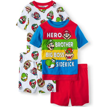 Boys' Mario 4 Piece Pajama Sleep Set (Little Boy & Big Boy) (Mario Racoon)