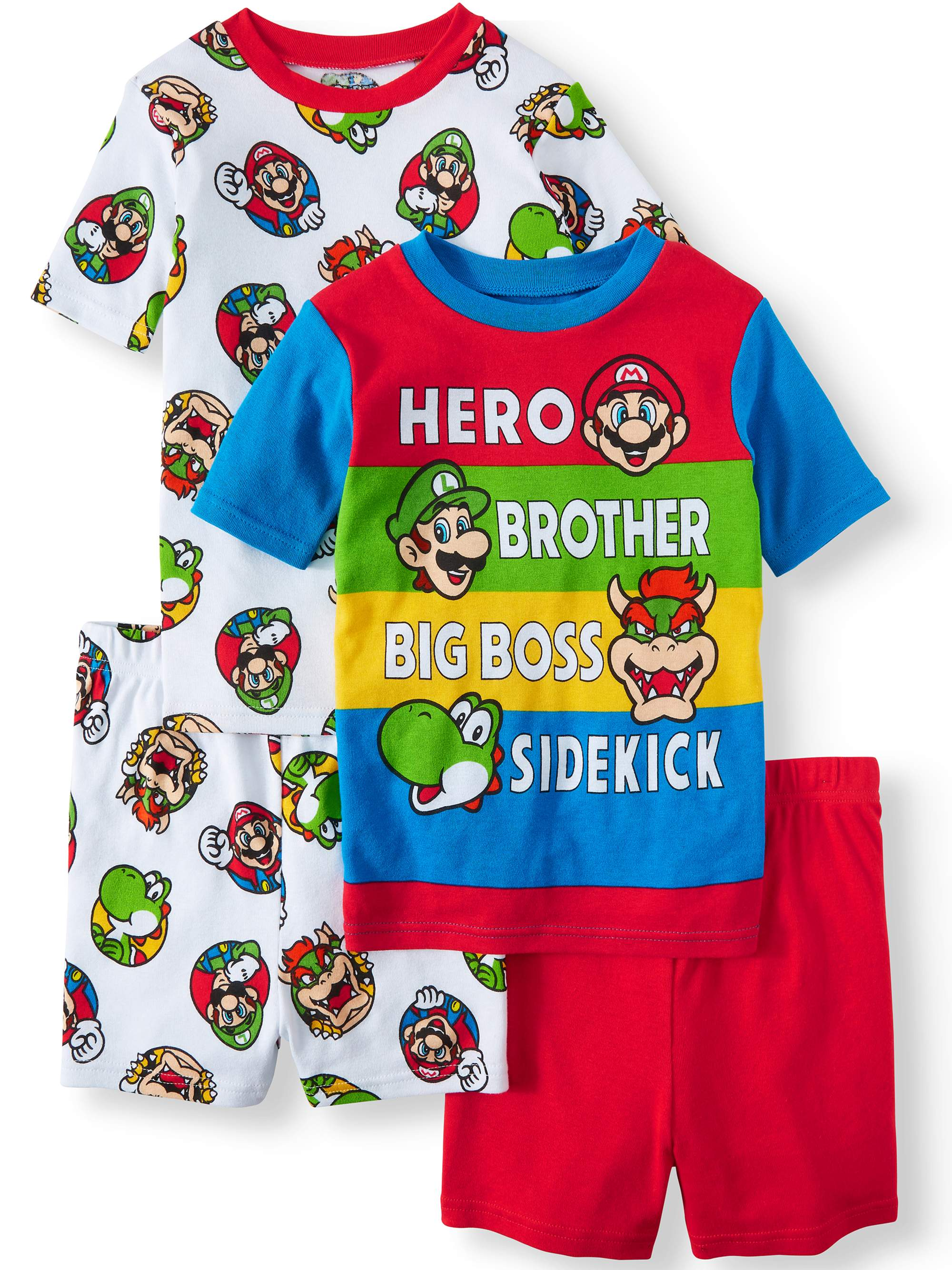 Boys' Mario 4 Piece Pajama Sleep Set (Little Boy & Big Boy)