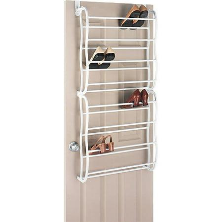 Whitmor 24 pair over the door shoe rack white for Zapateras de madera