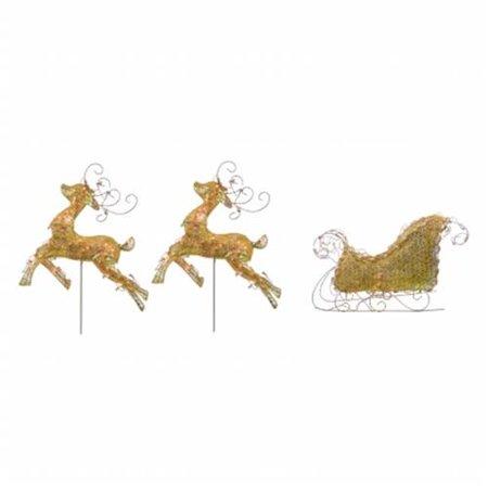 northlight seasonal 31758642 lighted d glitter reindeer and sleigh. Black Bedroom Furniture Sets. Home Design Ideas