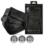 Ma Croix Black Disposable Face Masks Non-woven 3-Ply Earloop with Reusable Storage Bags