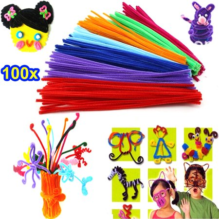 100pcs Rainbow Colors Stems Plush Sticks Kindergarden Education Toys DIY Handmade Craft Creativity Devoloping Toys](Diy Halloween Plushies)