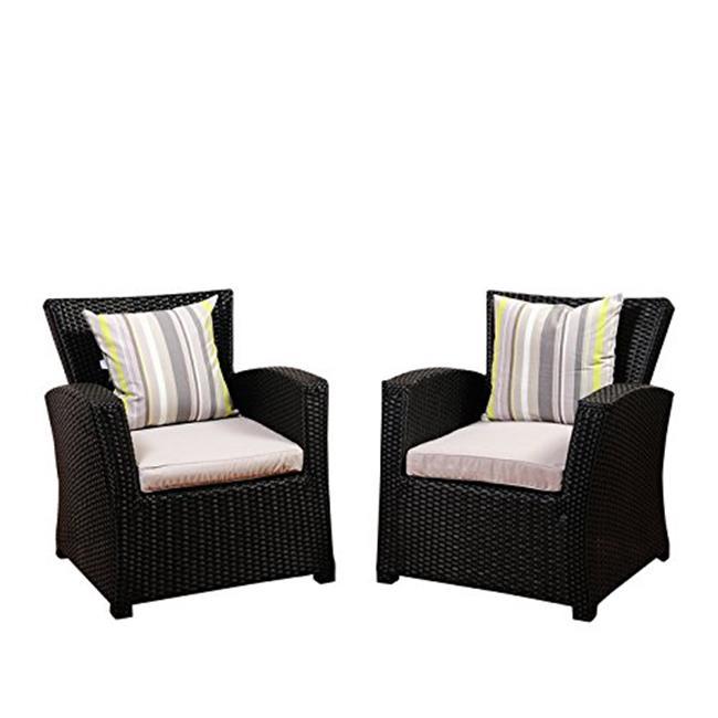 SC SAIGON-2ARM Atlantic Staffordshire 2 Piece Black Wicker Arm Chair Set with Light Grey Cushions