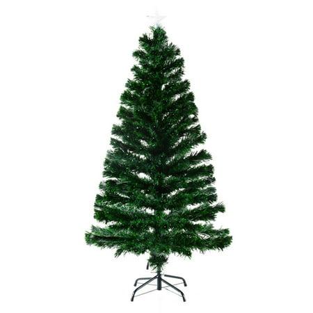 homcom 7 ft pre lit warm white led artificial christmas tree with fiber optic