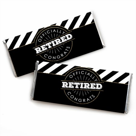Happy Retirement - Candy Bar Wrapper Retirement Party Favors - Set of 24