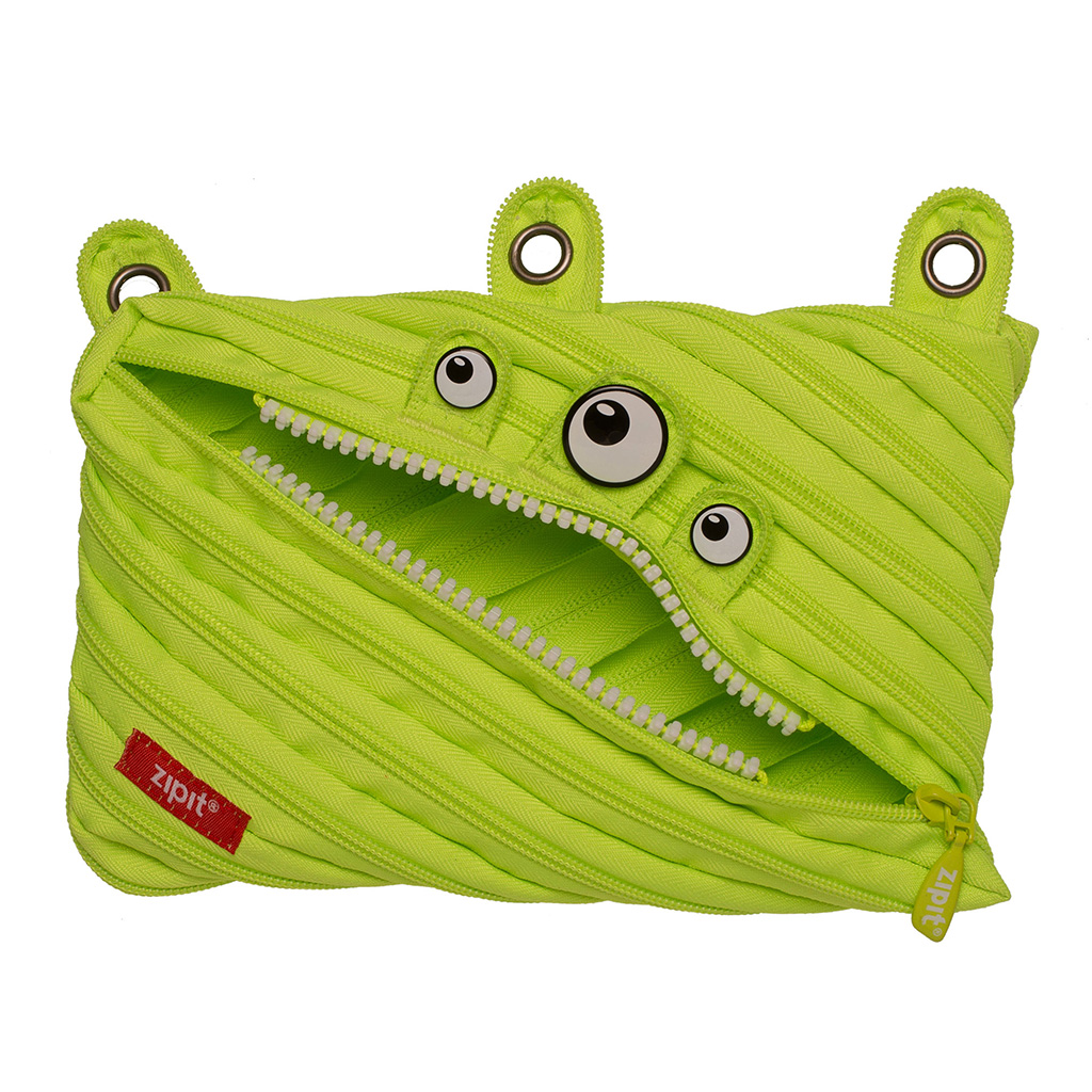 ZIPIT Monster 3-Ring Binder Pencil Pouch, Large Capacity Pen Case for Kids and Teens, Made of One Long Zipper! (Lime)