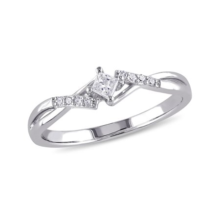 Princess Cut Diamond Engagement Promise Ring 1/7 Carat (ctw Color H-I Clarity I2-I3 ) in 10k White Gold