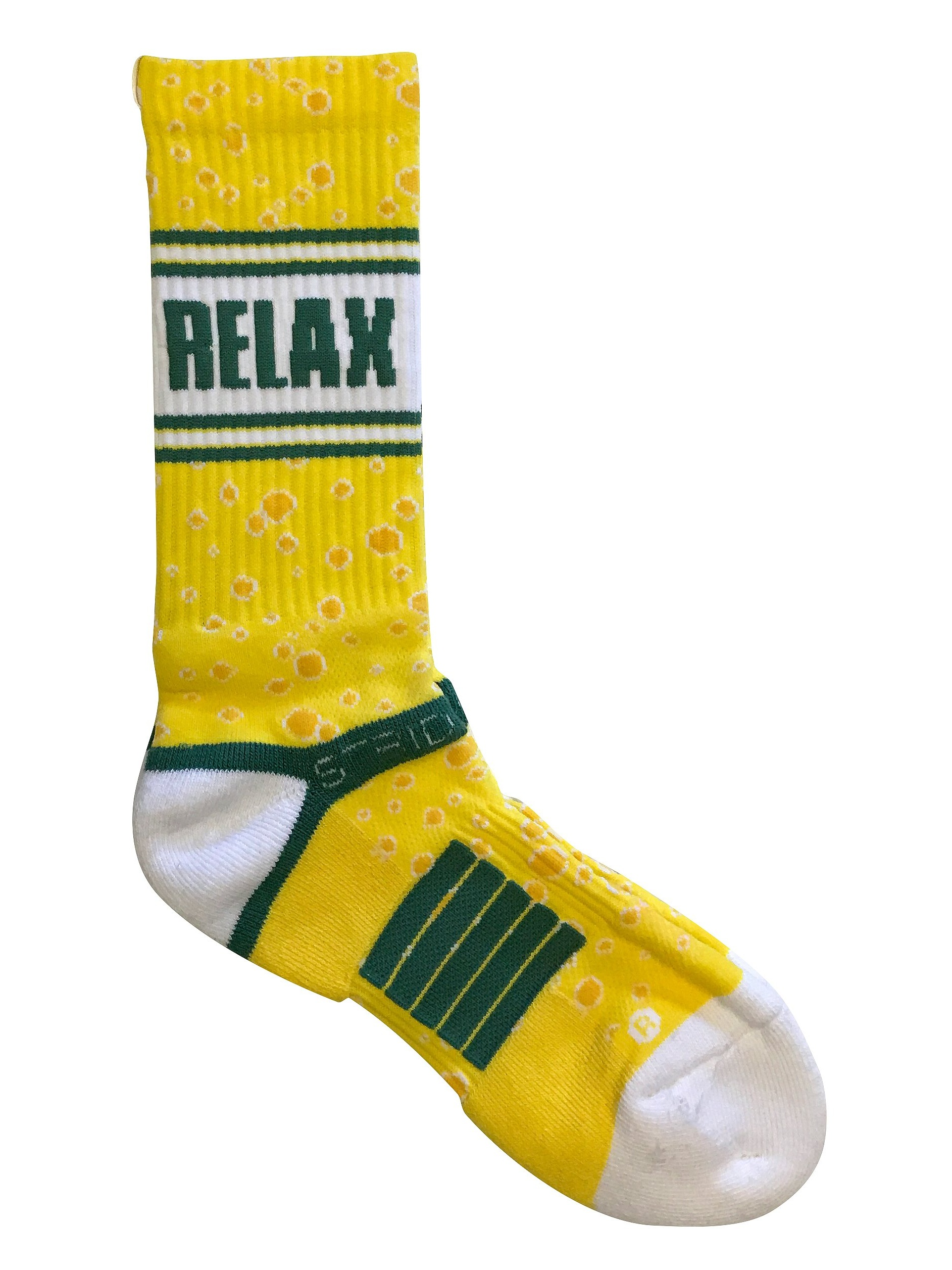 Strideline Green Bay, Relax Cheese Wisconsin Crew Socks