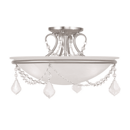 Semi Flush Mounts 3 Light With White Alabaster Glass Brushed Nickel size 16 in 225 Watts - World of