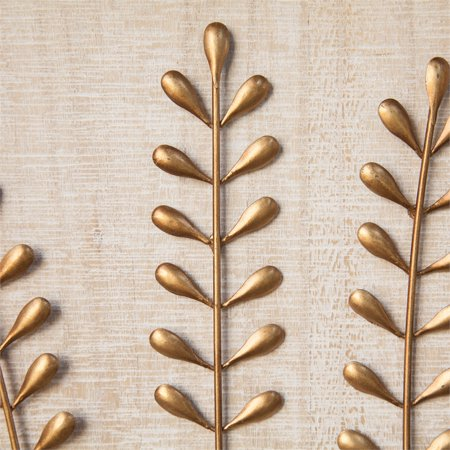 Gold Metal Leaf Wood Wall Plaque - image 3 of 7