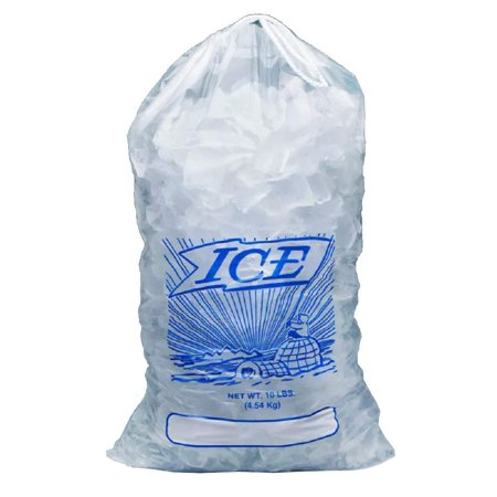 APQ Pack of 1000 Printed Metallocene Ice Bags 10 lb, 12 x 19. Polyethylene Bags with Drawstring Closure 12x19. FDA approved, 1.35 Mil thick. Ideal for industrial, food service, healthcare Applications Bag Ice 10 Lb Printed