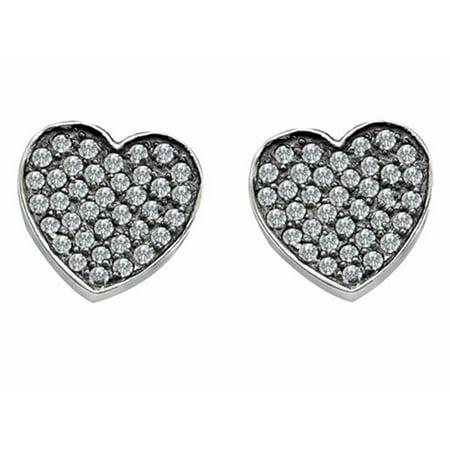 Star K Heart Shape Love Earrings with Cubic Zirconia in Sterling Silver