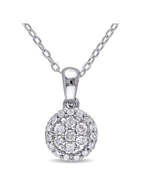 Womens pendants necklaces walmart miabella 14 carat tw diamond sterling silver halo pendant 18 aloadofball Images