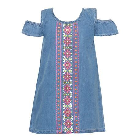 - Little Girls Light Blue Motif Panel Cold Shoulder Vintage Denim Dress