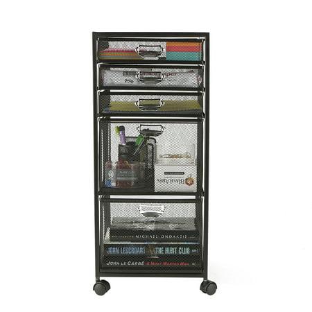 Mind Reader 5-Tiered Drawer Cabinet, Rolling Mesh Office Cart, Metal Storage, Drawers, File Storage Cart, Utility Cart, Office Storage, Heavy Duty Multi-Purpose Cart, Black Presentation Cart Office Furniture
