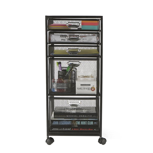 Mind Reader 5-Tiered Drawer Cabinet, Rolling Mesh Office