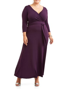 Ella Samani Women's Plus Size  Sleeve Maxi Wrap Dress