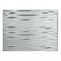 "Fasade Easy Installation Waves Brushed Aluminum Backsplash Panel for Kitchen and Bathrooms (18"" x 24"" Panel)"