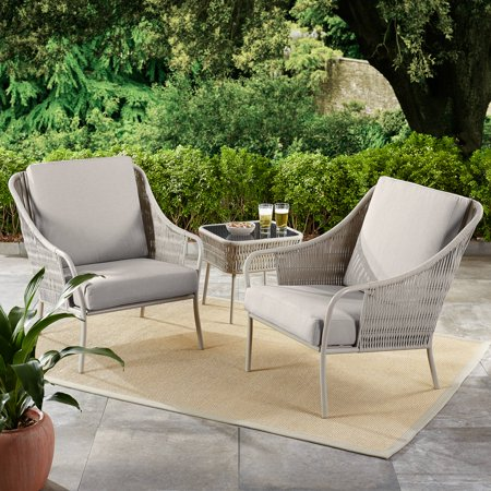 Better Homes & Gardens Palomar 3-Piece Patio Woven Chat Set with Gray Cushions