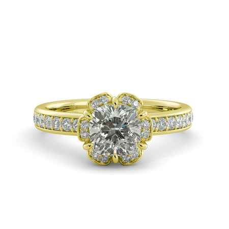 1.96 ct Cushion Brilliant Moissanite & Diamond Vintage Engagement Ring 18k Yellow Goldold