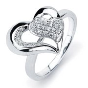 Oliveti Sterling Silver Cubic Zirconia Heart Cut-out Ring